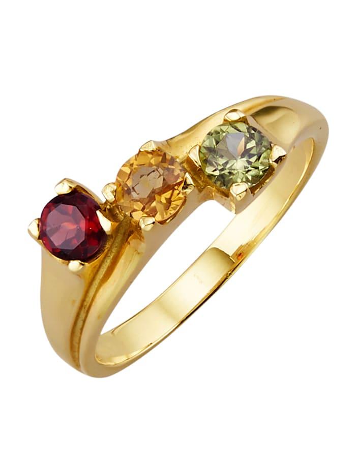 Diemer Farbstein Damenring mit Peridot, Citrin und Granat, Multicolor
