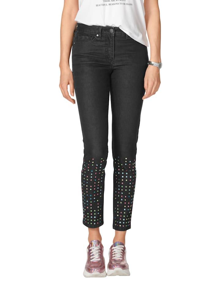 AMY VERMONT Jeans met strassteentjes, Zwart