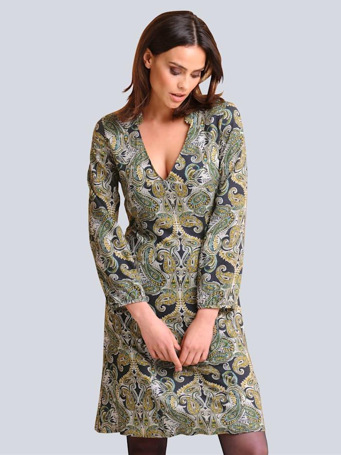 Alba Moda Kleid im modischen Paisleydessin, Marineblau/Grün