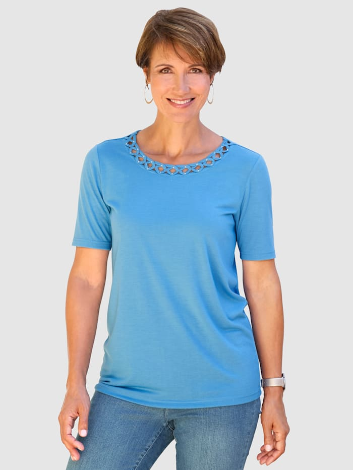 Paola Shirt mit raffinierter Ausschnittlösung, Blau