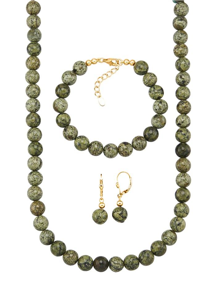 Diemer Highlights 3-delige sieradenset met asterietkralen, Groen