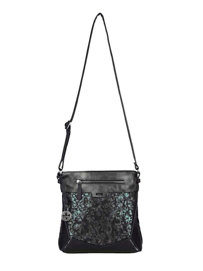 Rieker Schoudertas met deels glanzende print, zwart