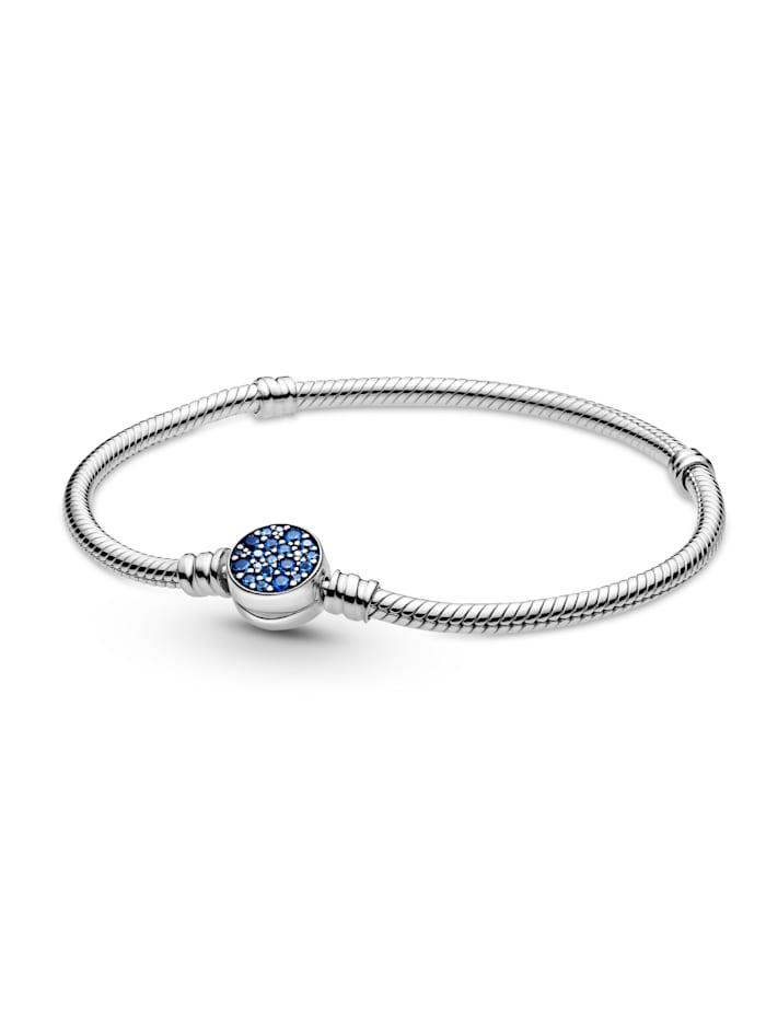 Pandora Armband mit funkelndem Blauem Scheibenverschluss - 599288C01-21, Silberfarben