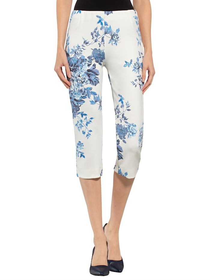 Alba Moda Hose mit allover Floral-Dessin, Weiß/Hellblau