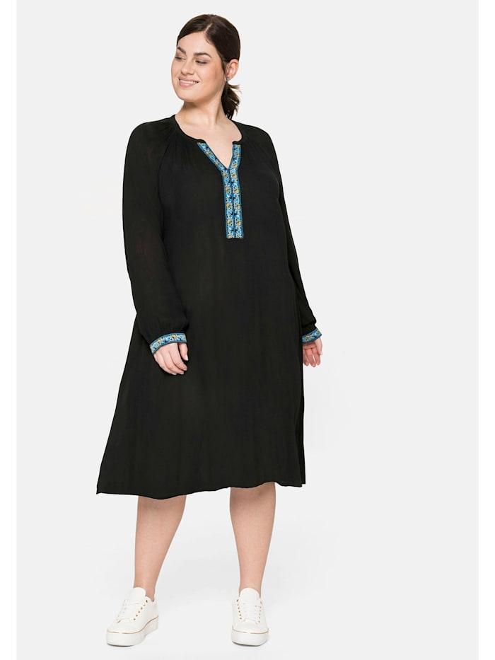 Sheego Kleid mit dekorativer Blende, aus Crêpe, schwarz