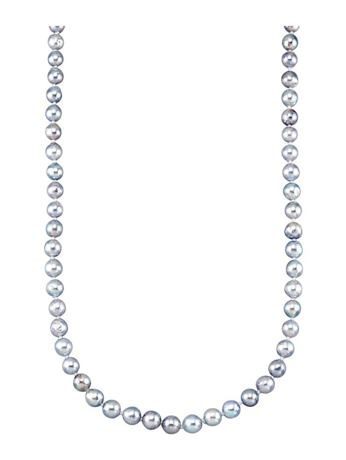 Diemer Perle Akoya-Zuchtperlen-Collier in Gelbgold 585, Grau