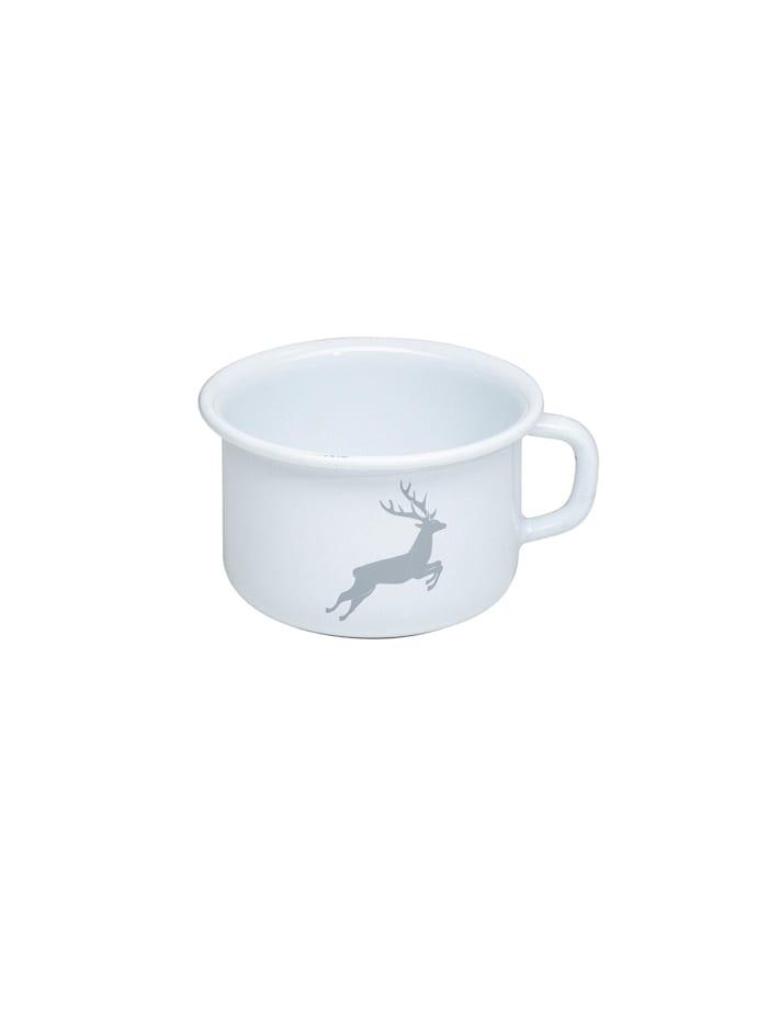 Riess Kaffeeschale Emaille Hirsch Grau, Weiß