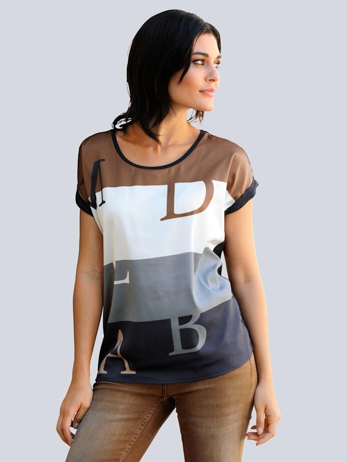 Alba Moda Shirt van een materialenmix, Marine/Cognac/Wit