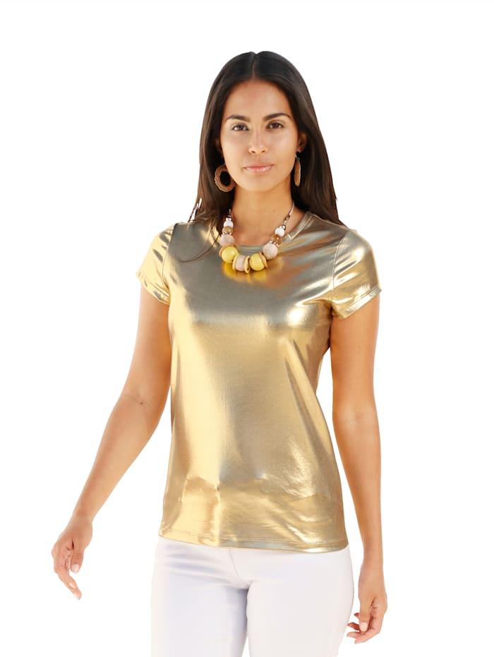 AMY VERMONT Shirt in Glanz-Optik, Goldfarben