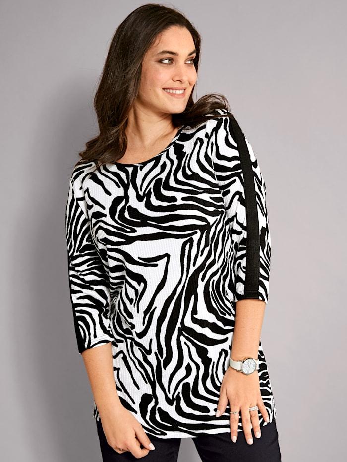 MIAMODA Shirt van structuurmateriaal, Zwart/Wit