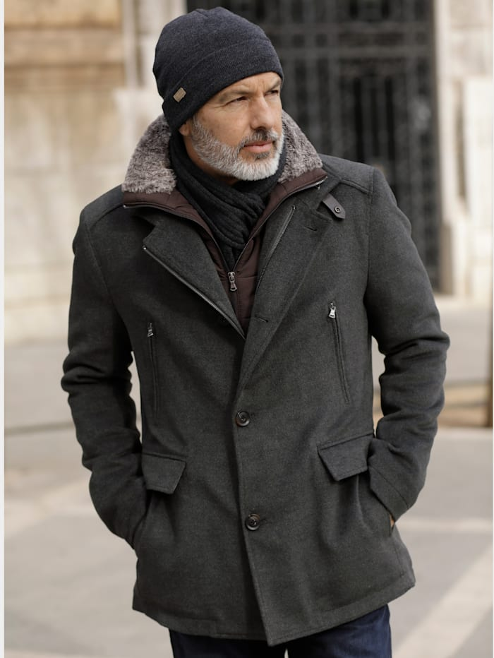 BABISTA Jacke mit abnehmbarer Innenblende und Kragen, Grau