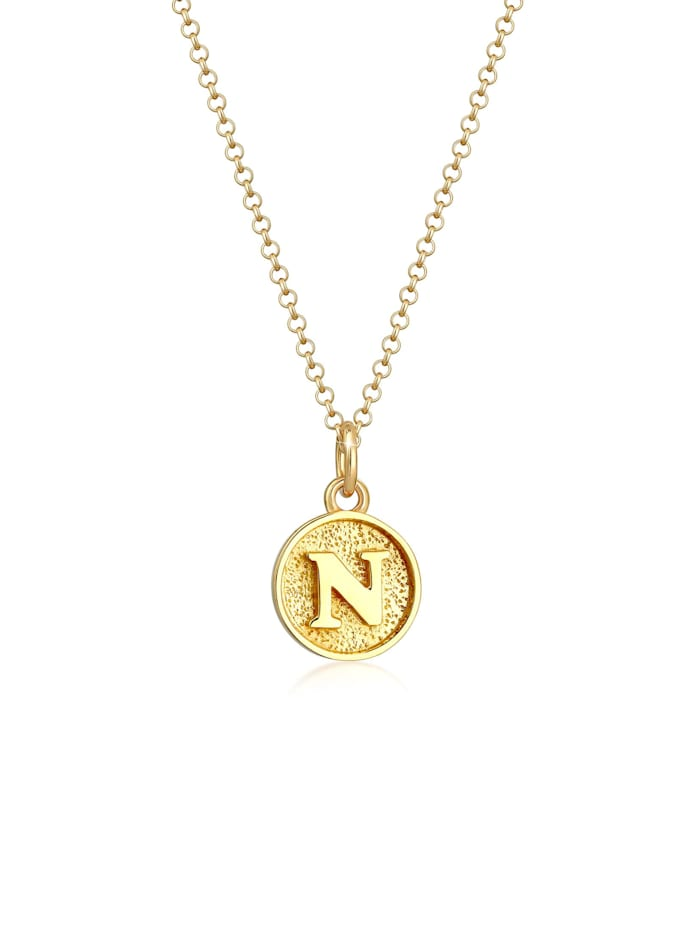 Elli Halskette Buchstabe N Initialen Vintage Plättchen 925 Silber, Gold