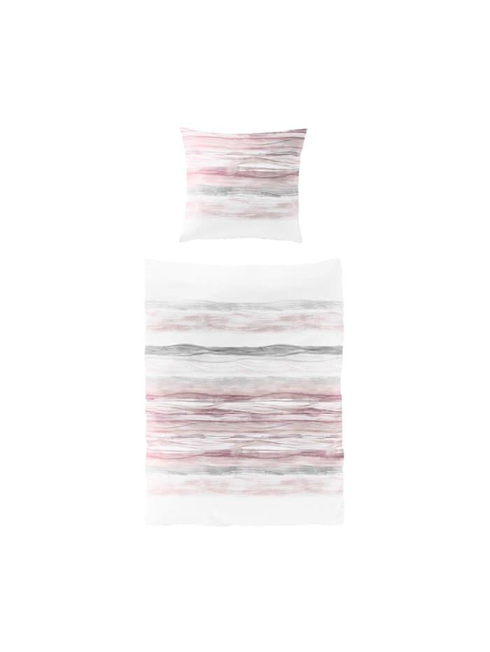 Traumschlaf Seersucker Bettwäsche Wellen rosa, rosa