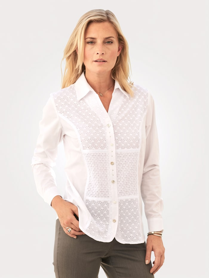 MONA Blouse with broderie anglaise, White
