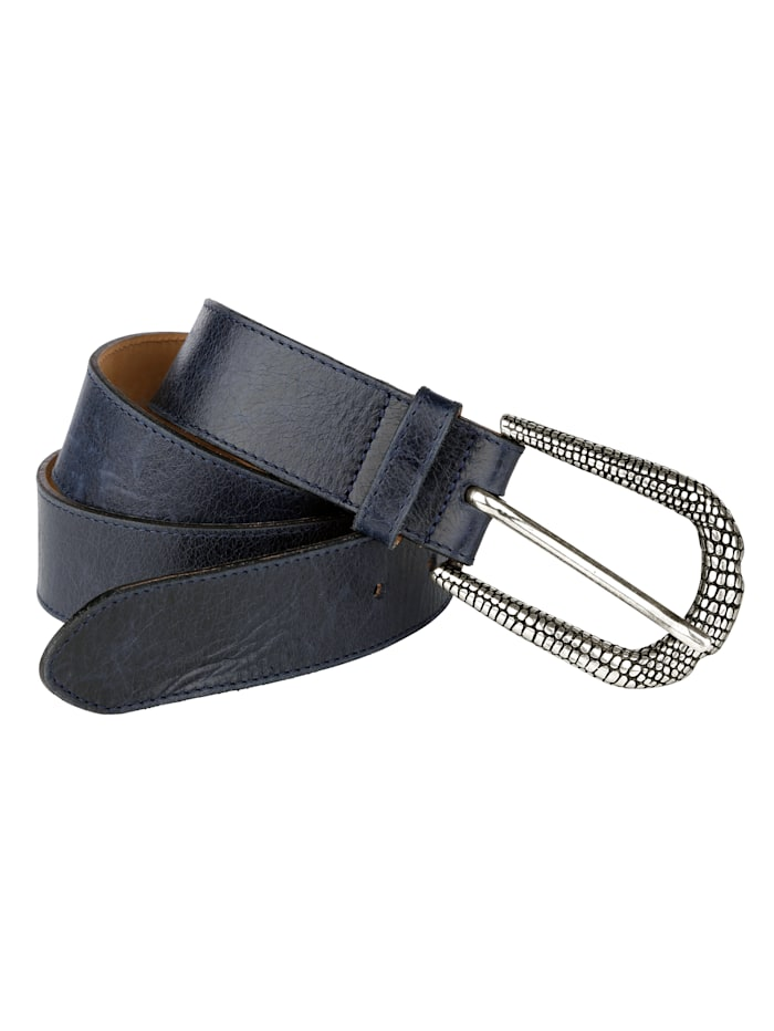 MONA Leather belt with embossed buckle, Navy
