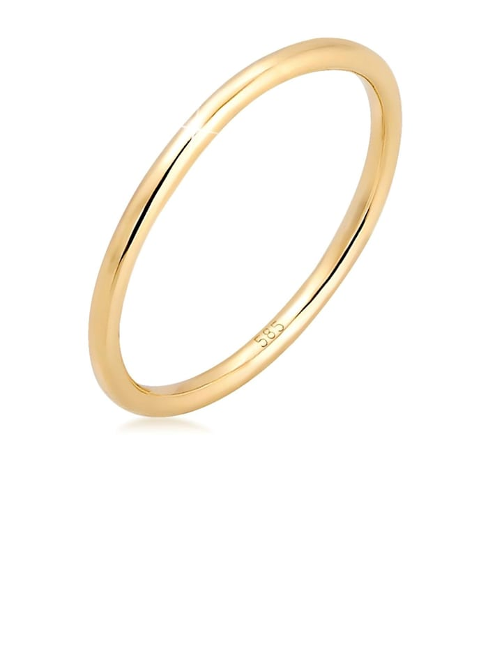 Elli Premium Ring Bandring Ehering Trauring Hochzeit 585Er Gelbgold, Gold