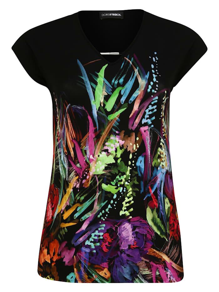 Doris Streich T-Shirt mit Allover-Print Applikationen, multicolor