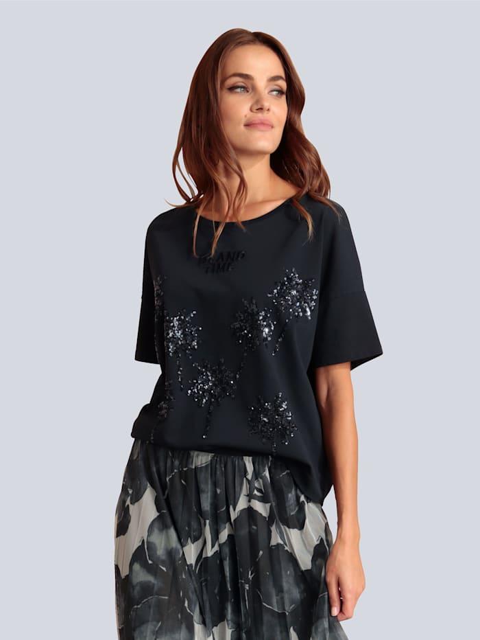 MARGITTES T-Shirt mit Pailletten, Marineblau