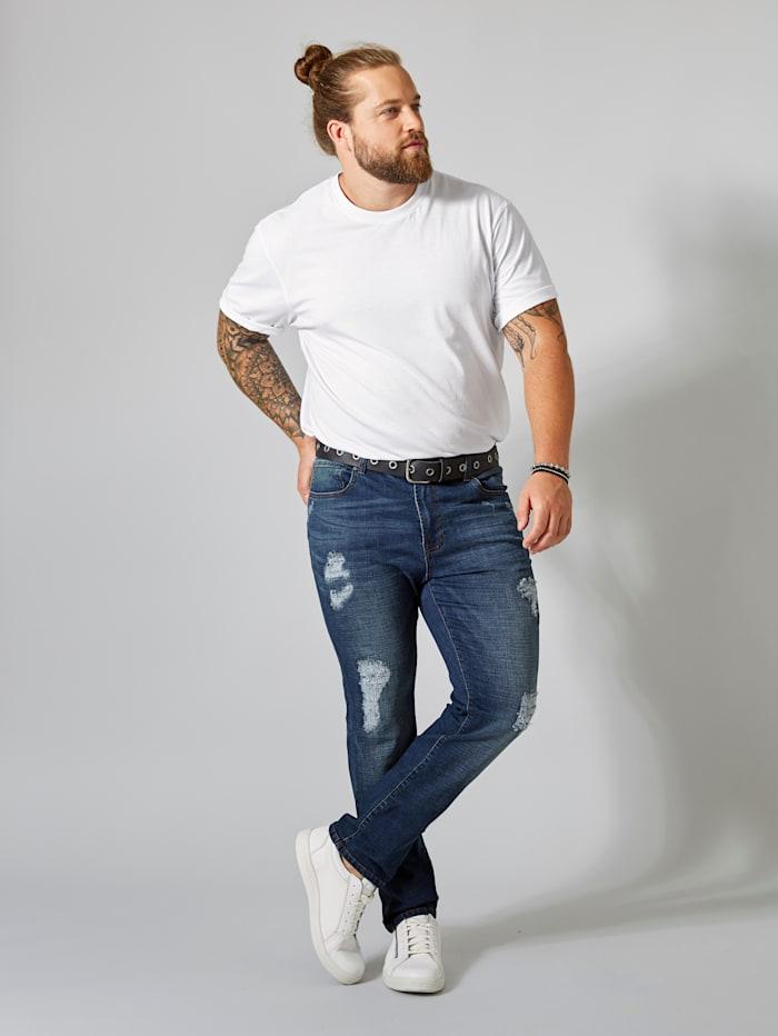 Men Plus Destroyed Jeans Slim Fit, Blue stone
