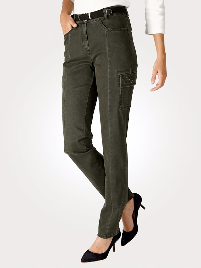Cargo trousers with ornamental rhinestones