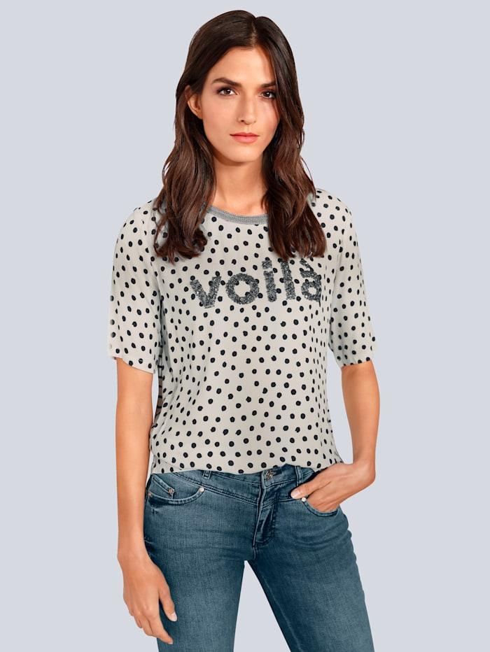 OUI T-Shirt mit Pailletten, Grau