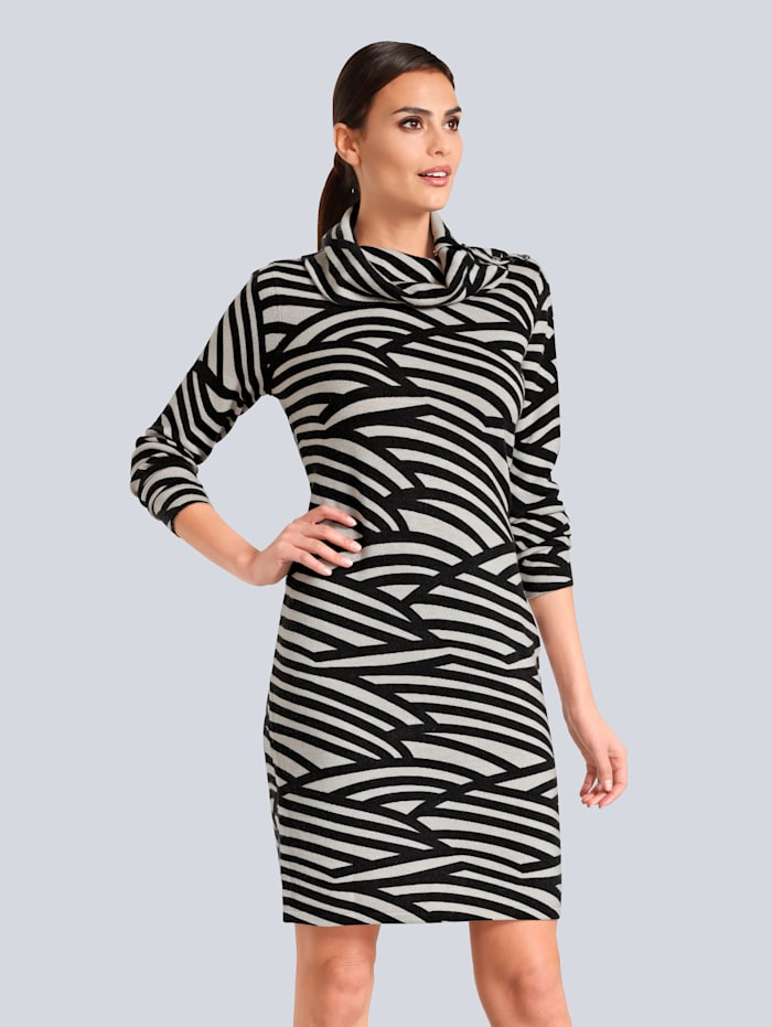 Alba Moda Kleid in kuschelweicher Qualität, Schwarz/Creme-Weiß