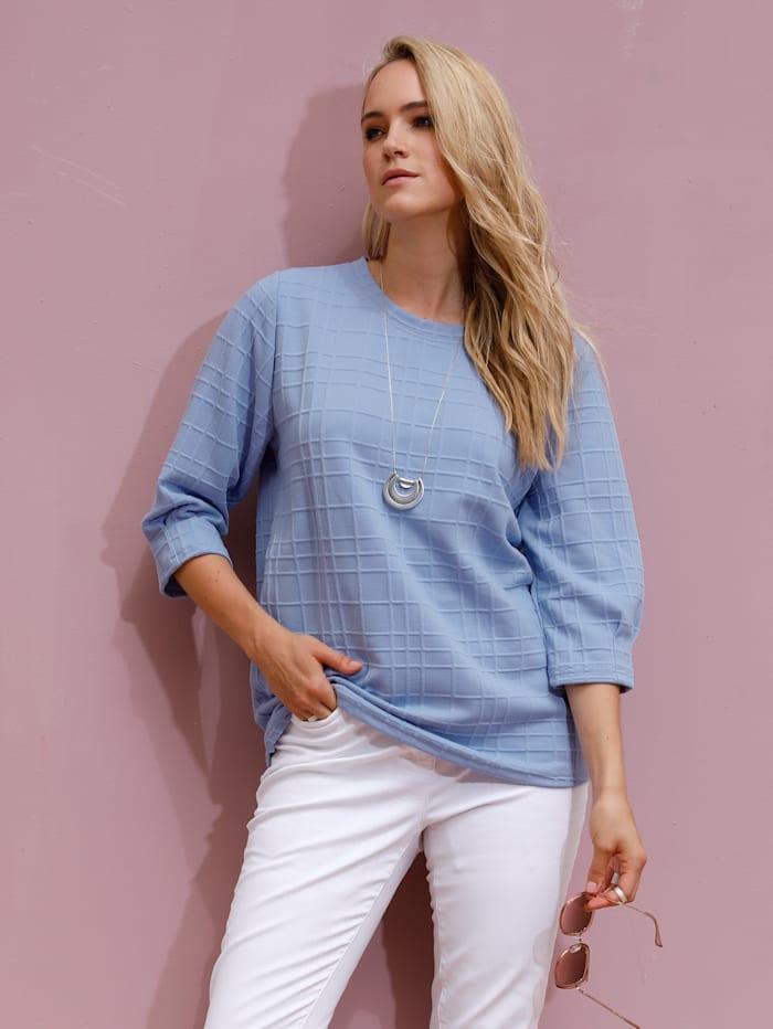 MIAMODA Sweat-shirt en matière structurée, Bleu ciel