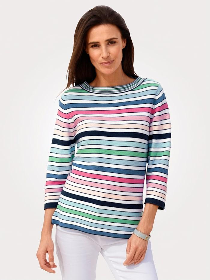Rabe Pullover mit Garnstreifen, Multicolor