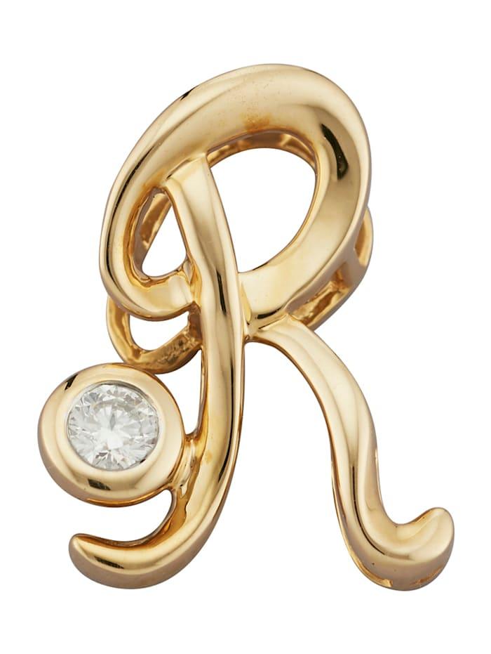 Diemer Gold Buchstaben-Anhänger 'R', Gelbgoldfarben
