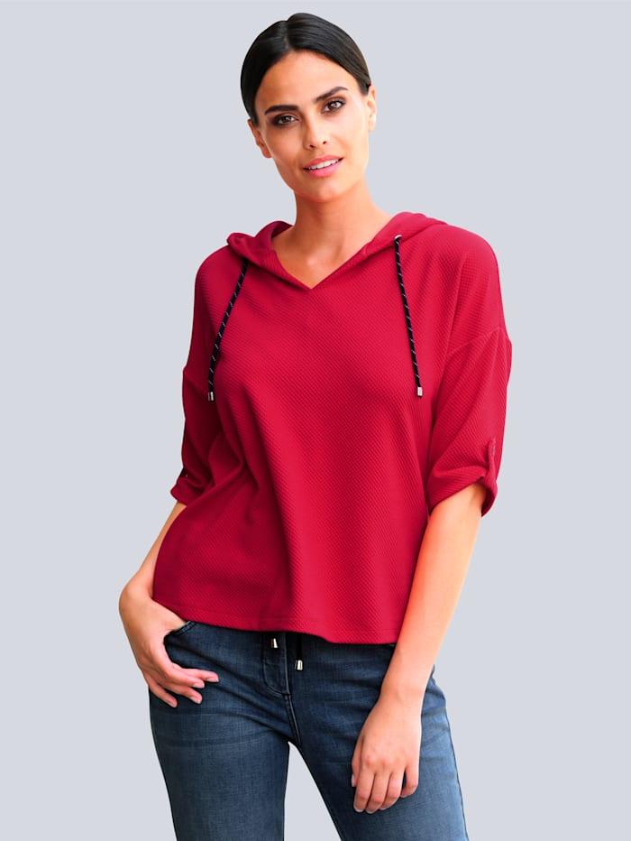 Alba Moda Shirt aus sportiver Strukturware, Rot