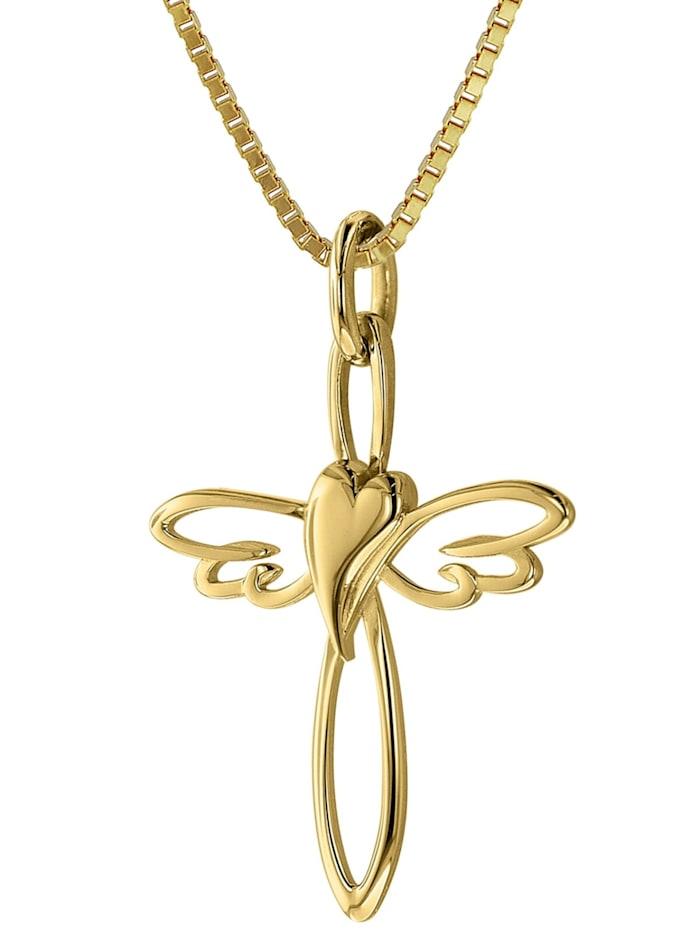 trendor Kreuz-Anhänger 333 Gold mit goldplattierter Silberkette, Goldfarben
