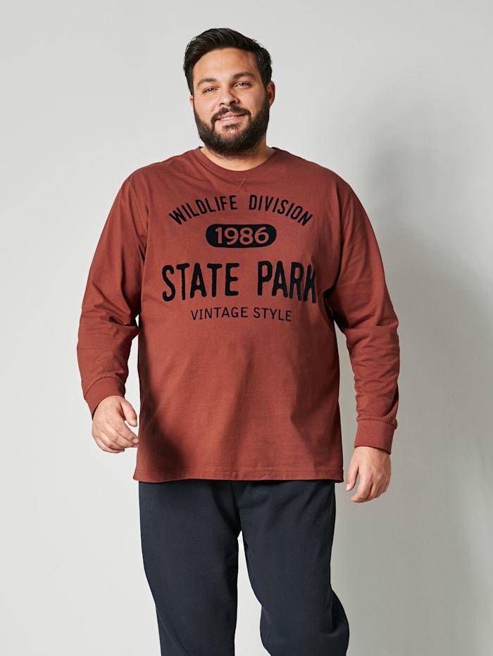 Men Plus Langarmshirt aus reiner Baumwolle, Rost/Marineblau