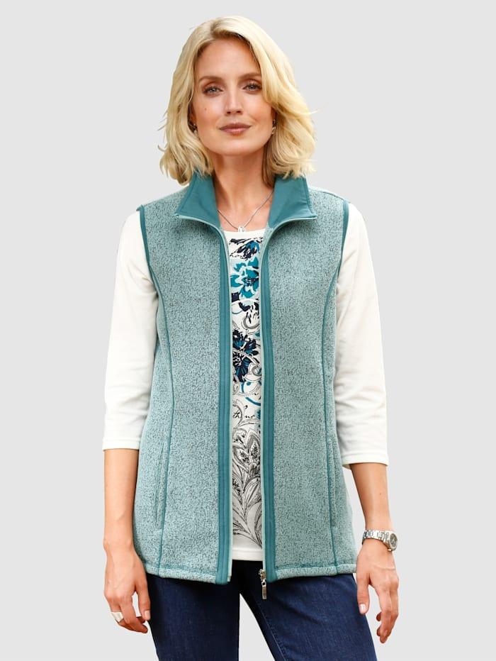 Paola Sweatbodywarmer met contrastkleurige details, Mint/Turquoise