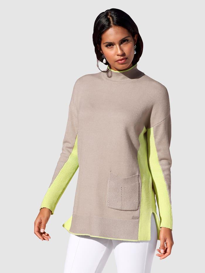 AMY VERMONT Pullover mit neonfarbenen Akzenten, Beige/Neongrün