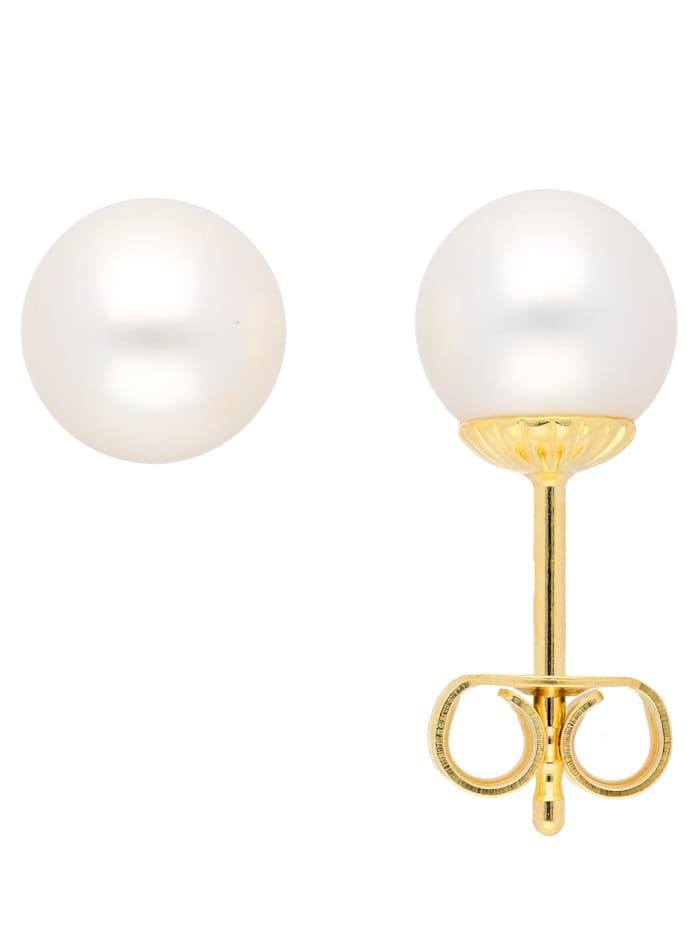 1001 Diamonds Damen Goldschmuck 585 Gold Ohrringe / Ohrstecker mit Süßwasser Zuchtperle Ø 7 mm, gold