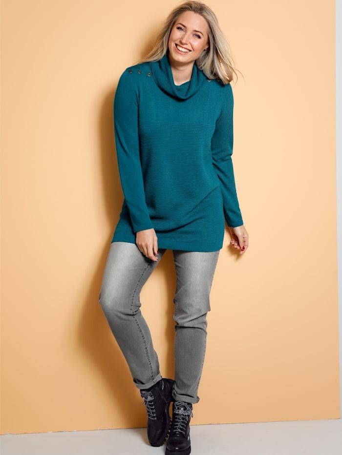 MIAMODA Pullover mit halsfernem Kragen, Türkis