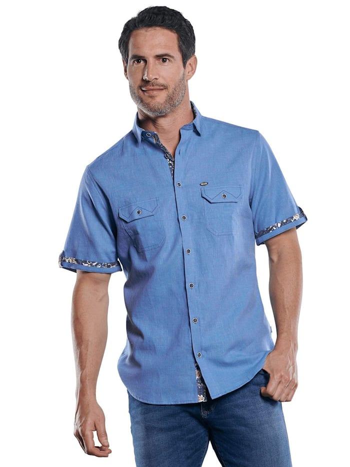Engbers Sportives Hemd mit floralen Kontrastnähten, Enzianblau