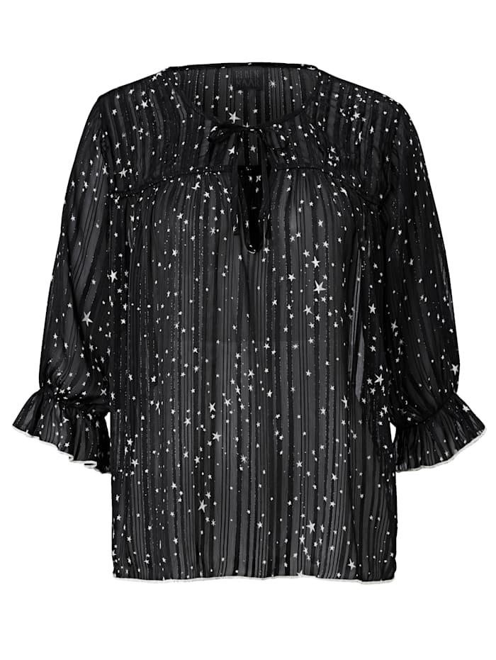 REKEN MAAR Bluse mit Sternen, Schwarz/Weiß