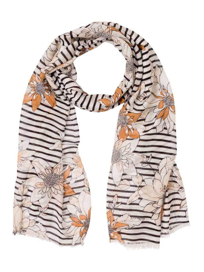 Olsen Modeschal mit Streifen und Blüten, Off White