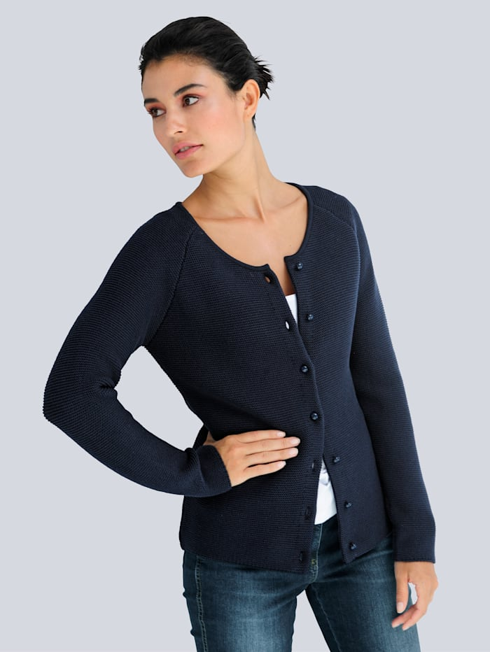 Alba Moda Strickjacke aus Pima Baumwolle, Marineblau