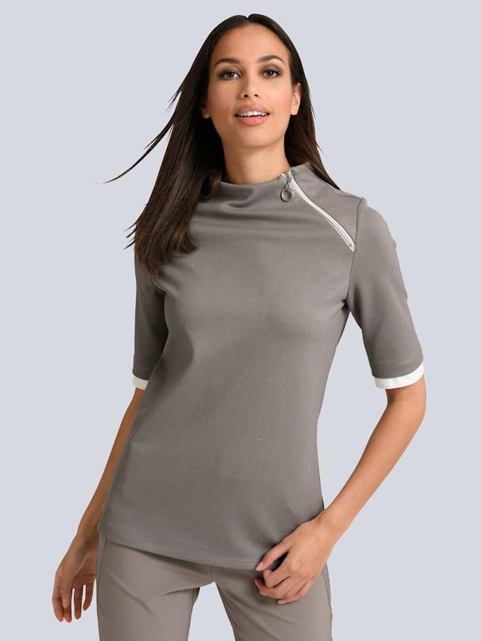 Alba Moda Shirt mit dekorativem Zipper, Taupe/Weiß