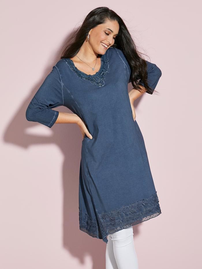 MIAMODA Klänning med gnistrande dekorstenar, Blå