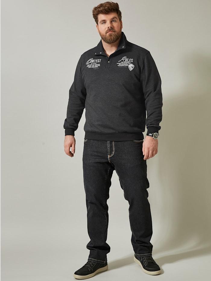 Men Plus Sweatshirt, Grijs/Zwart