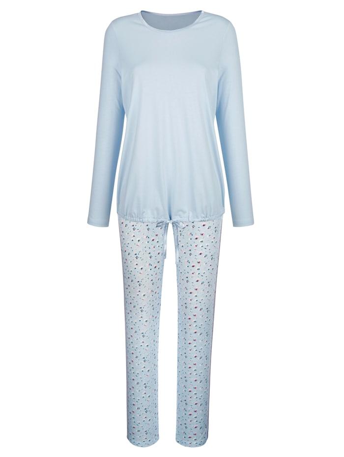 Simone Pyjama avec lien à nouer, Bleu ciel/Rose/Vert