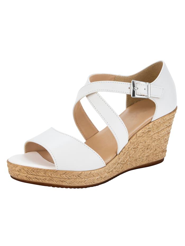 Sandales compensées à beau jeu de brides, Blanc