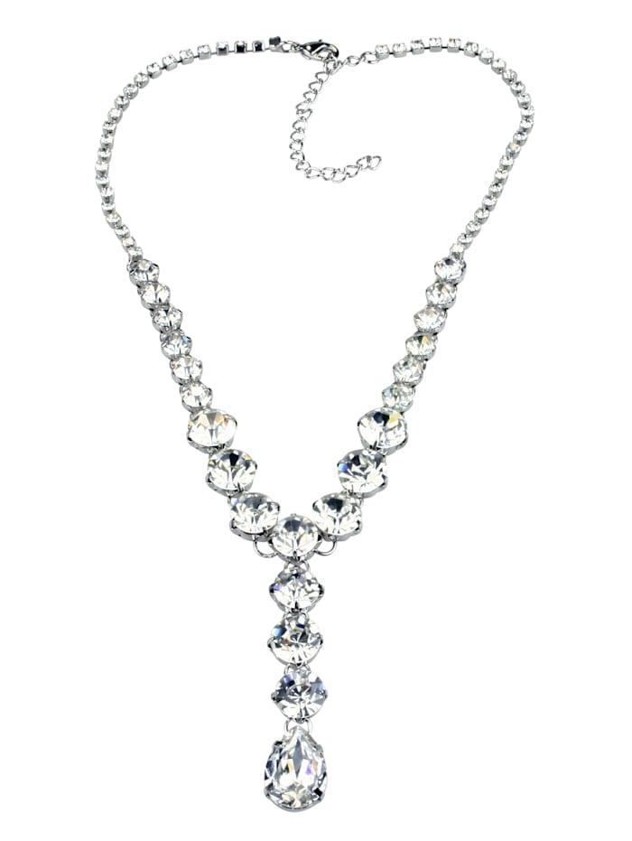 Collezione Alessandro Kurze Kette Clarissa mit unterschiedlichen Glassteinen, kristall