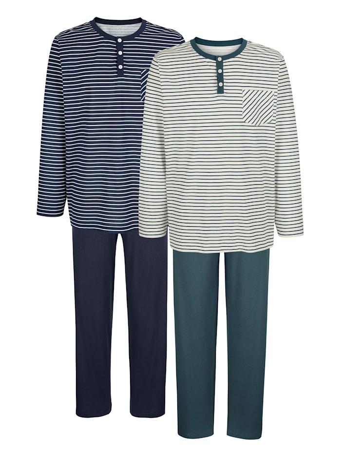G Gregory Pyjamas par lot de 2, Marine/Pétrole