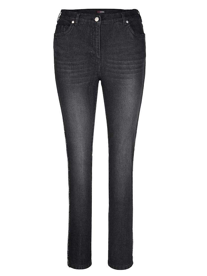 Jeans mit streckendem Glitzerdekoband seitlich
