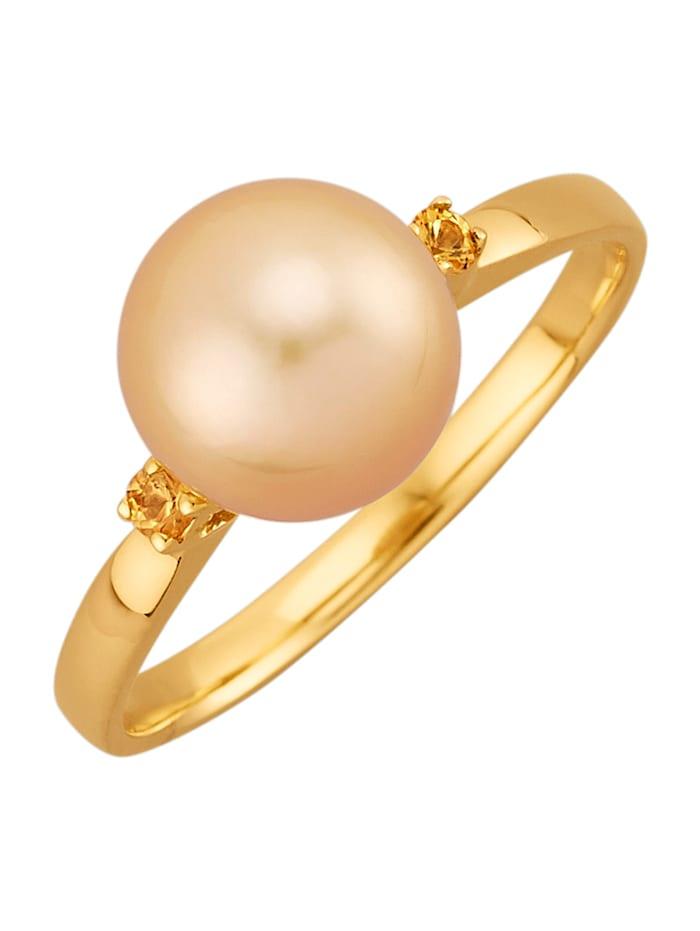 Diemer Perle Damesring met 1 goudkleurige (gekl.) cultivé zoetwaterparel, Geelgoudkleur