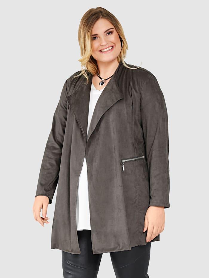 Sara Lindholm Imitatieleren jasje met zakken, Donkergrijs